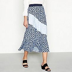 Red Herring - Blue floral print tiered midi skirt