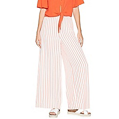 Red Herring - Ivory and orange stripe wide leg trousers