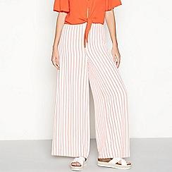 Red Herring - Ivory and orange stripe wide leg trousers