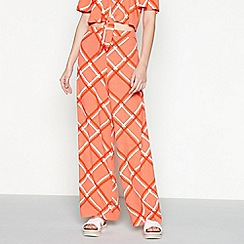 Red Herring - Red check print loose fit wide leg full trousers