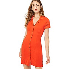 Red Herring - Bright red jersey mini shirt dress