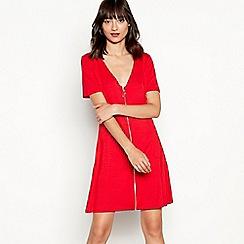 Red Herring - Red zip through modal blend skater dress