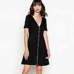 Red Herring - Black zip through modal blend skater dress