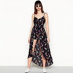 Red Herring - Black floral print V-neck high low maxi playsuit