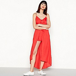 Red Herring - Red V-neck high low maxi playsuit