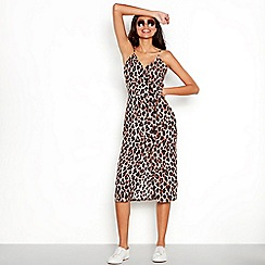 Red Herring - Multi-coloured leopard print V-neck midi dress