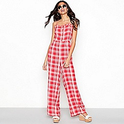 Red Herring - Red check print full length jumpsuit