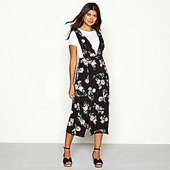 Red Herring - Black floral print chiffon V-neck midi pinafore dress