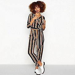 Red Herring - Black stripe print collared jumpsuit