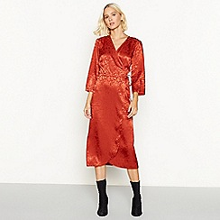 Red Herring - Red brick floral jacquard satin midi wrap dress