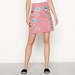Red Herring - Light pink floral embroidered cotton mini skirt