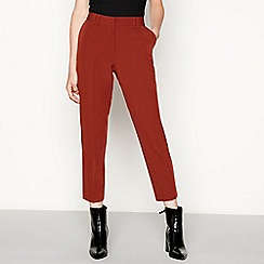 Red Herring - Dark tan high waisted ankle grazer trousers