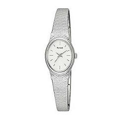 Pulsar - Ladies oval white dial with metal bracelet watch pk3031x1