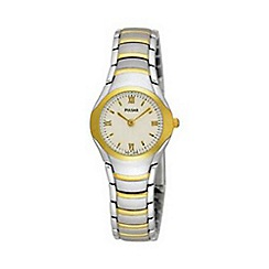 Pulsar - Ladies round white dial with two tone bracelet watch peg406x1