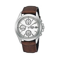 Lorus - Men's white chronograph dial with brown strap watch rf325bx9