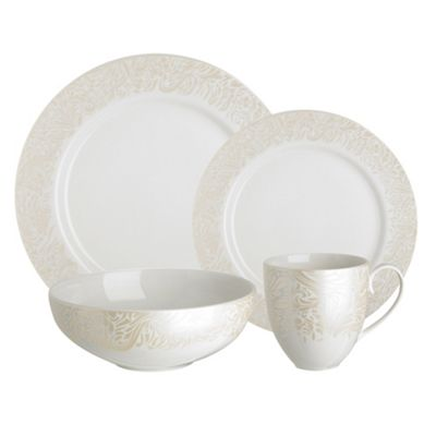 Denby - Cream glazed \u0027Monsoon Lucille\u0027 16 piece dinnerware set  sc 1 st  Debenhams : denby dinnerware set - pezcame.com