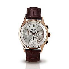 Sekonda - Men's brown leather strap chronograph watch 3847.27
