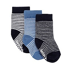 J by Jasper Conran - Designer pack of three babies navy striped socks