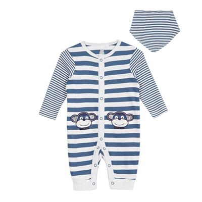 315ed3644 bluezoo Babies blue striped monkey sleepsuit and bib | Debenhams