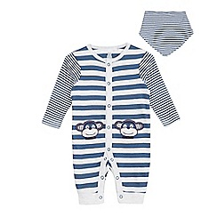 bluezoo - Babies blue striped monkey sleepsuit and bib
