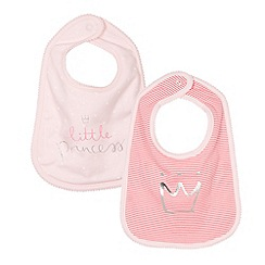 bluezoo - Pack of two babies pink 'Princess' bibs