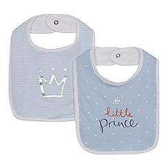 bluezoo - Pack of two babies blue 'Prince' bibs