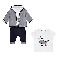 J by Jasper Conran - Baby boys' navy whale applique hoodie, t-shirt and shorts set