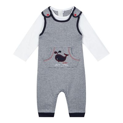b6777bb5e64 J by Jasper Conran Baby boys  navy whale embroidered dungarees ...
