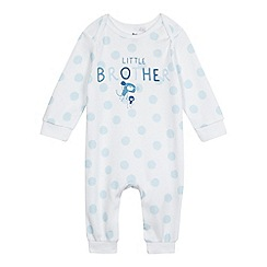 bluezoo - Baby boys' white 'Little Brother' print sleepsuit