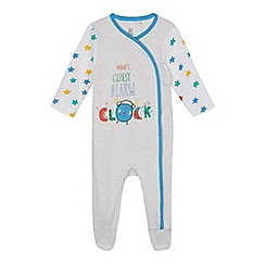 bluezoo - Baby boys' grey 'World's cutest alarm clock' print sleepsuit