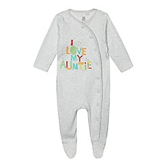 bluezoo - Baby girls' white 'I Love My Auntie' print sleepsuit