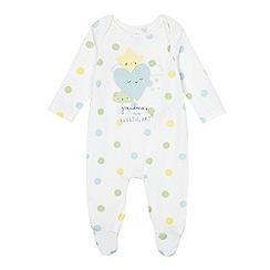 bluezoo - Baby boys' white spotted 'Grandma's little sweetheart' sleepsuit