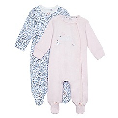 J by Jasper Conran - Pack of two baby girls' pink assorted print sleepsuits
