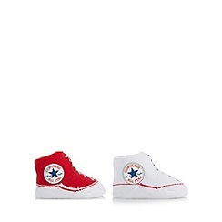 Converse - Babies pack of two red bootie socks