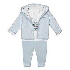 J by Jasper Conran - Babies pale blue train print jacket, top and bottoms set