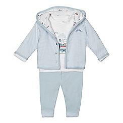 J by Jasper Conran - Baby boys'  pale blue train print jacket, top and bottoms set