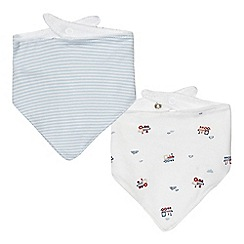 J by Jasper Conran - Pack of two babies pale blue train dribble bibs