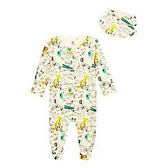 bluezoo - Baby boys' ivory safari print sleepsuit and hat