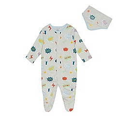 bluezoo - Baby boys' grey printed sleepsuit