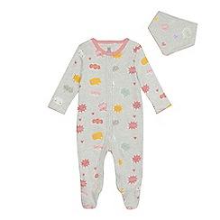 bluezoo - Baby girls' grey conversation print sleepsuit and bib set