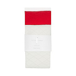 J by Jasper Conran - 2 pack girls' red and white cable knit tights