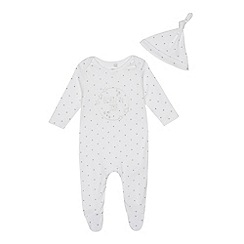 bluezoo - Babies white 'Born in 2018' long sleeve sleepsuit and hat set