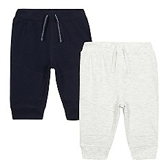 bluezoo - Pack of two baby boys' navy and grey ribbed jogging bottoms