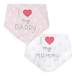 bluezoo - Pack of two baby girls' love applique bibs