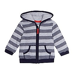 bluezoo - Baby boys' grey and navy striped zip through hoodie