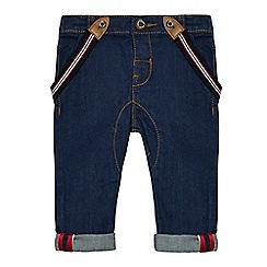 J by Jasper Conran - Baby boys' navy denim jeans with braces