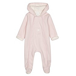 J by Jasper Conran - Designer babies pink bonded fleece all in one