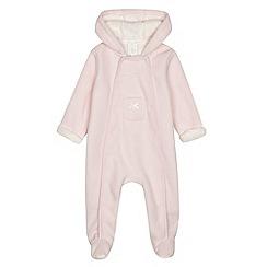 J by Jasper Conran - Designer babies pink bonded fleece all in one