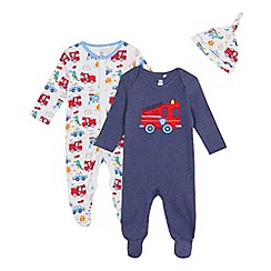 bluezoo - Pack of two baby boys' navy fire engine sleepsuits