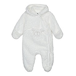 bluezoo - Babies white fleece bear applique all in one